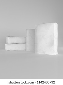 3d rendering of a white sacks of cement on white background