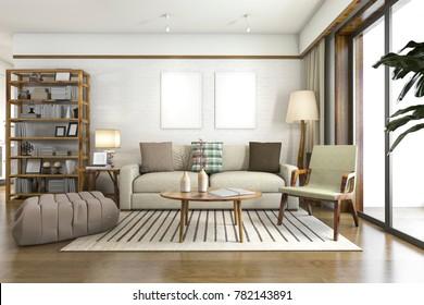 3d rendering white scandinavian living room with wood decor