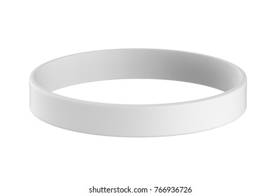 3d rendering white silicone rubber wristband mock up on white background