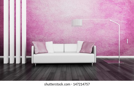 Minimal Pink Living Room Classic Sofa Stock Illustration 28810444 ...