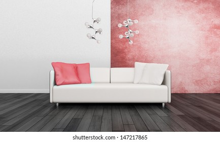 Red Sofa Standing Living Room Front Stock Illustration 289113095 ...