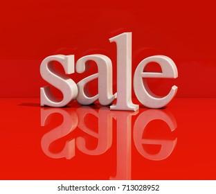 3d Rendering: White Symbol of Sale
