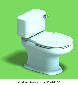 3D rendering of a white wc with shadow and clipping path over white