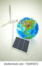 3d rendering of wind generator and solar battery