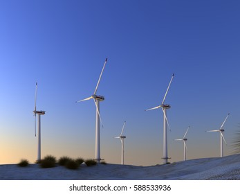 3d rendering wind turbines farm in a deserts sunset