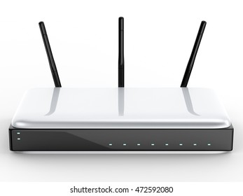 3d rendering wireless router on white background