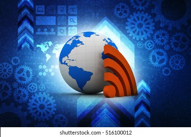 3d rendering Wireless world wifi Earth broadband symbol of worldwide internet access