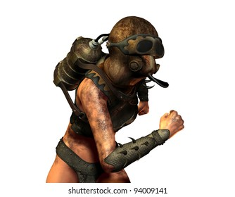 3D Rendering woman running with gas and make-contained breathing apparatus