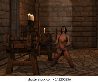 3D rendering of a woman screaming in the inquisition room