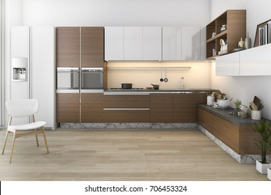 3d rendering wood loft kitchen with bar and living zone