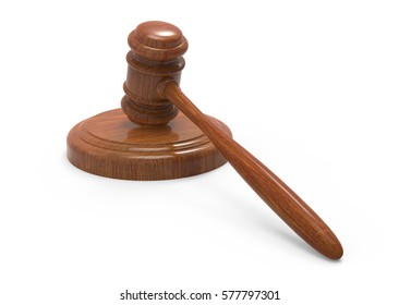 3d rendering wooden gavel close up picture, isolated white background