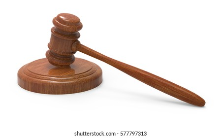 3d rendering wooden gavel close up picture, isolated white background, side view
