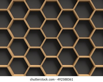 3D rendering wooden hexagons on dark background