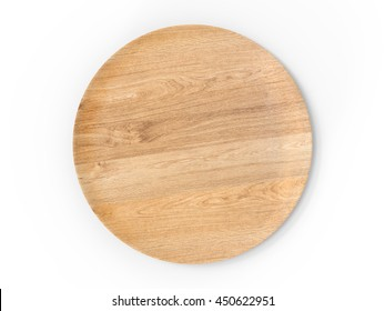 3d rendering wooden plate isolated on white
