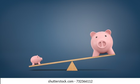 3d rendering of a wooden seesaw on chalkboard background with a small piggy bank overweighing a large one. Long-term value. True worth. Wealth comparison.