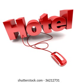 3D rendering of the word hotel connected to a computer mouse