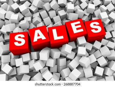 3d rendering of word text sales and abstract cubes boxes background