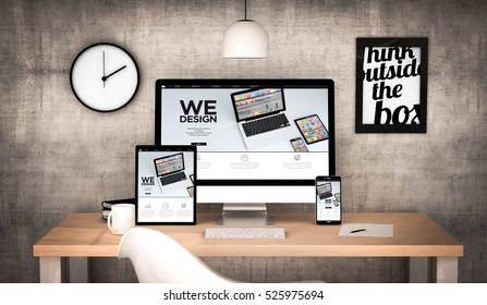 3d rendering workplace desktop with  digital tablet, computer, laptop and various office objects responsive design website on screen. All screen graphics are made up.