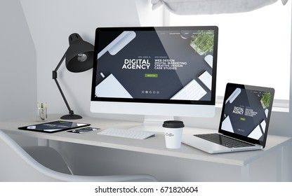 3d rendering of workroom with responsive devices showing digital agency on screen. All screen graphics are made up.