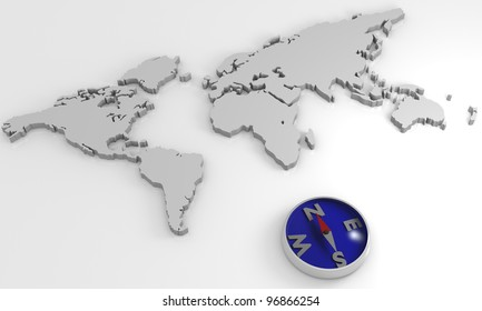 3D rendering world map with a compass