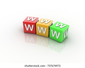 """3d rendering WWW"""" Text, cube"""