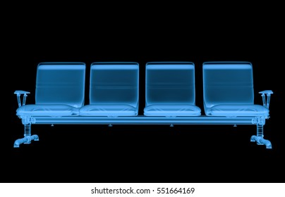 3d rendering x ray airport seats isolated on black
