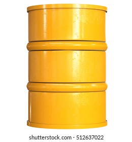 3d rendering yellow barrel isolated on white
