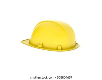 3d rendering of a yellow hardhat isolated on the white background. Building and construction. 3d modeling. Safety at workplace. Construction site.
