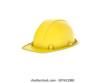 3d rendering of a yellow helmet isolated on the white background. Building and construction. Safety at workplace. Uniform.