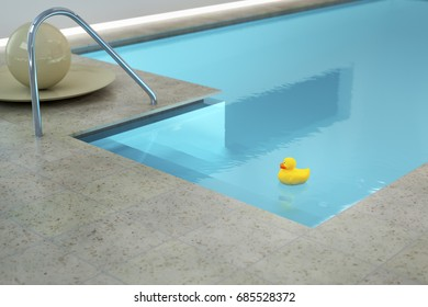 3d rendering of a yellow rubber duck in an indoor pool