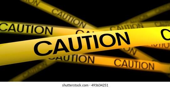 3d rendering yellow warning strip caution