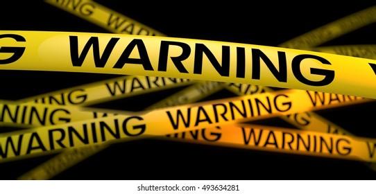 3d rendering yellow warning strip