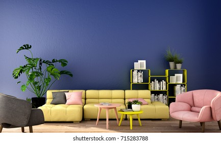 3d rendering,3d illustration,interior design for living area or reception in modern style with sofa and armchair, table,plant on wood floor and deep blue wall