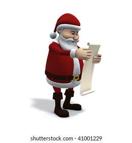 3d rendering/illustration of cartoon santa claus studying a wish-list