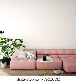 3d rendering,modern style with sofa, table,plant on wood floor and white concrete wall