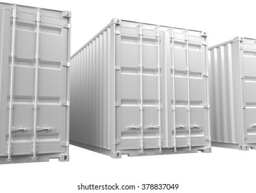 3D renderings of white ISO shipping containers on a white background.