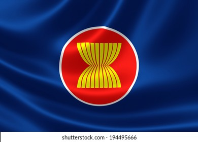 3D rendition of ASEAN flag on silky fabric