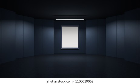 3D rendring empty rendering picture frame with minimalist and modern design studio room space background, low key lighting .