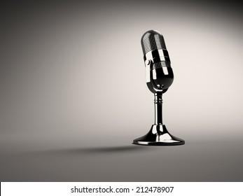 3d Retro microphone