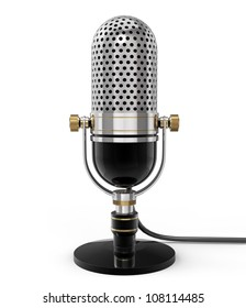 3d Retro microphone (front view). isolated on white with clipping path