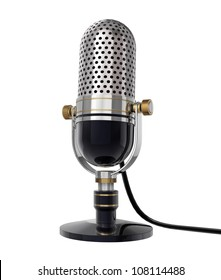 3d Retro microphone (side view). isolated on white with clipping path