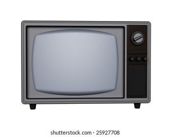 3d retro tv isolated on white background