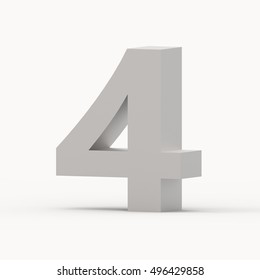 3d right leaning matte grey number 4, 3D rendering graphic isolated white background