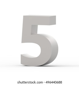 3d right leaning matte grey number 5, 3D rendering graphic isolated white background