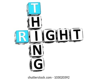 3D Right Thing Crossword on white background