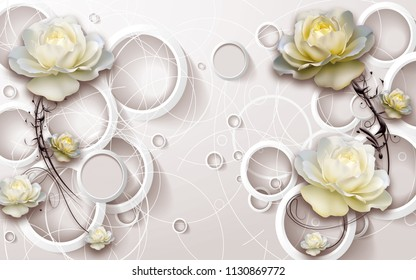 3D rings and flowers wallpaper