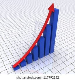 3d rising graphic chart consisted of columns and an arrow