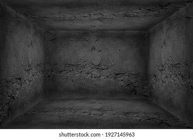3d room vintage concrete, abstract background empty ruined room perspective wall floor corner