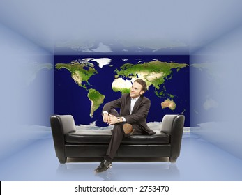 3d room where one wall is made of the map of the world with a businessman in it