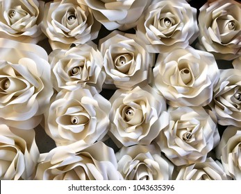 3d rose made from paper for wedding display design or valentines day background.